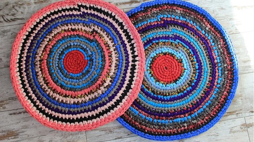 Схема вязания ковриков крючком из старых вещей