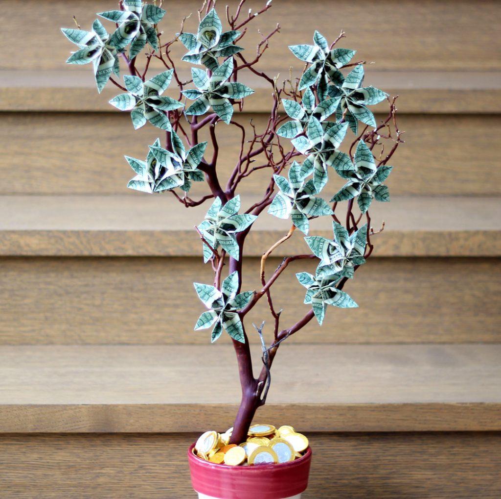Как сделать денежное дерево своими руками из настоящих купюр своими руками