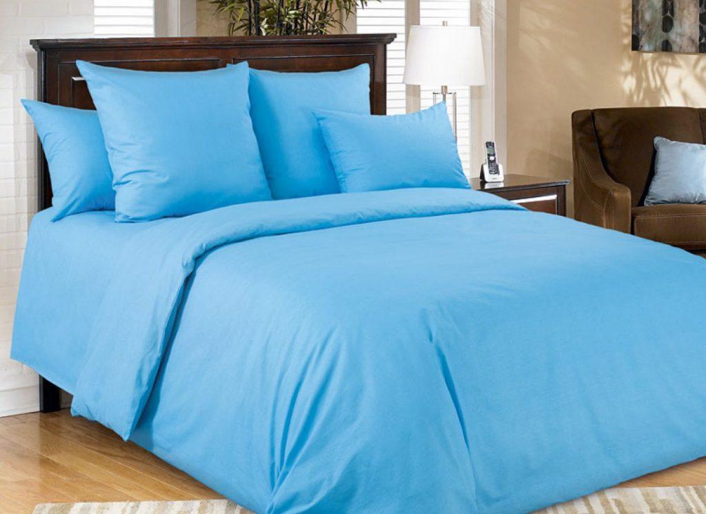 Спальное бельё голубого цвета