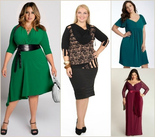 Популярные фасоны платьев для полных